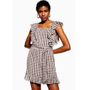 NWT TOPSHOP Gingham Ruffle Mini Dress in Brown